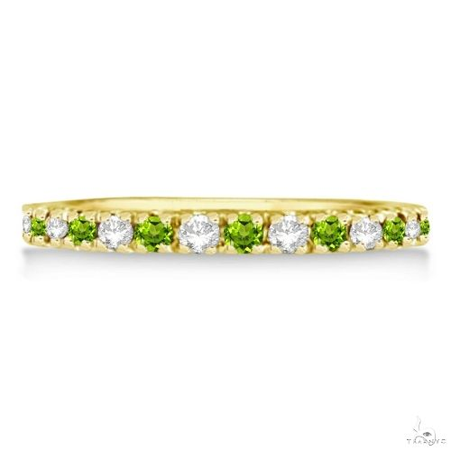 Diamond and Peridot Ring Guard Stackable Band 14k Yellow Gold Anniversary/Fashion