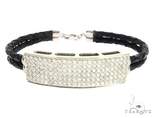 14k White Gold Diamond Leather Rope Bracelet 65035 Diamond