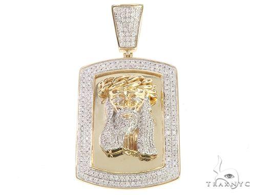 10K Yellow Gold Diamond Frame Jesus Head Pendant 65046 Metal