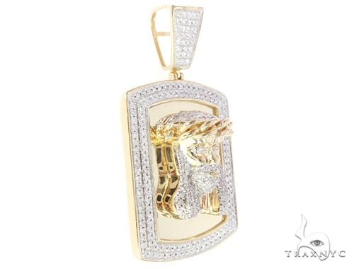 10K Yellow Gold Diamond Frame Jesus Head Pendant 65046 Metal