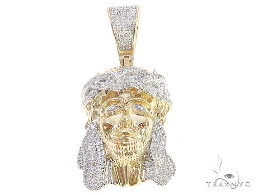 10K Yellow Gold Mini Diamond Jesus Head Pendant 65047 Metal
