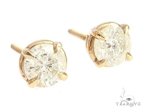 14k Yellow Gold Diamond Stud Earrings 65049 Stone