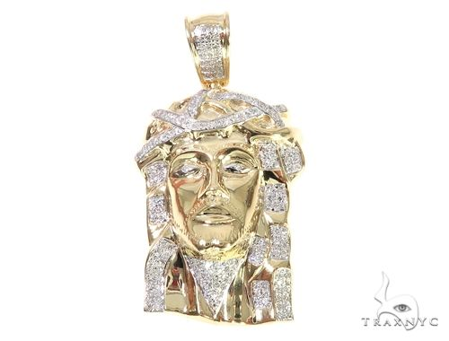 10K Yellow Gold Micro Pave Diamond Jesus Piece Charm Pendant 63303 Metal