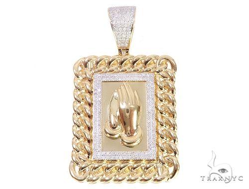 10K Yellow Gold Micro Pave Diamond Worship Charm Pendant 63305 Metal