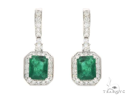 18k White Gold Emerald and Diamond Dangling Earrings 65052 10k, 14k, 18k Gold Earrings