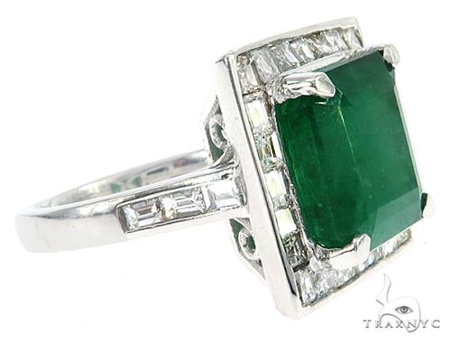 18k White Gold Diamond and Emerald Ring 65054 Anniversary/Fashion