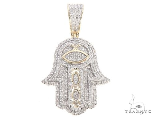 10K Yellow Gold Micro Pave Diamond Hand Charm Pendant 63618 Women Annual Blowout