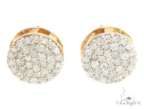 10K Yellow Gold Cluster Stud Earrings 65064 Stone