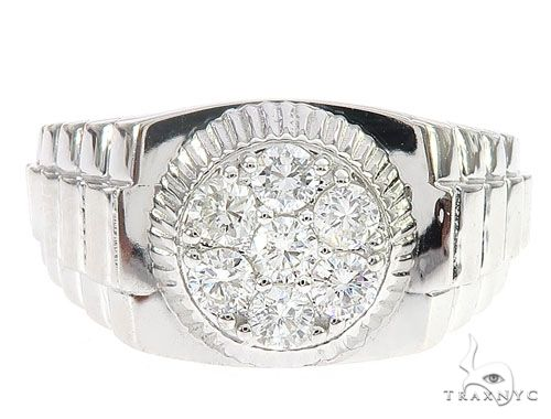 White Gold Timepiece Solitaire Ring 65066 Stone