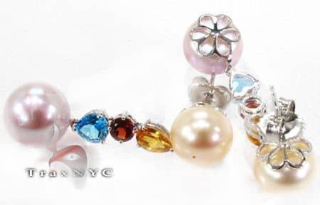 Multi Colored Pearl Earrings Stone