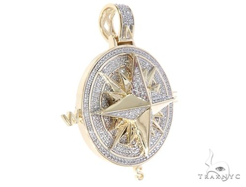 Micro Pave Diamond Compass Pendant 64468 Metal