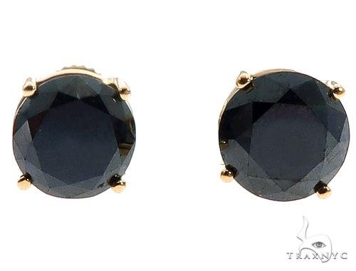 18K Prong Black Diamond Earrings 65073 Stone