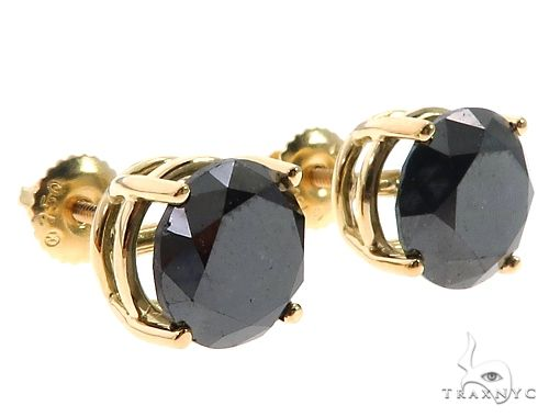 18K Prong Black Diamond Earrings 65073 Stone