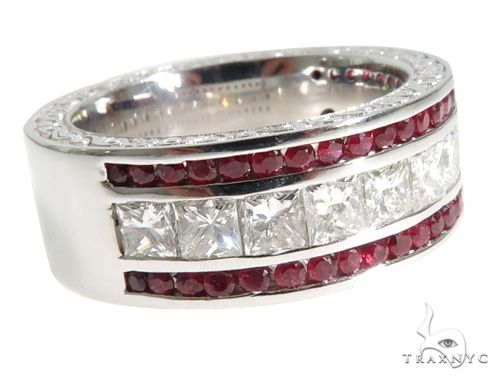 18K White Gold Mens  Red Ruby Channel Diamond Ring 65080 Stone