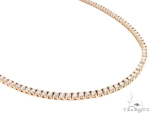 14K Rose Gold Diamond Tennis Chain 65081 Diamond