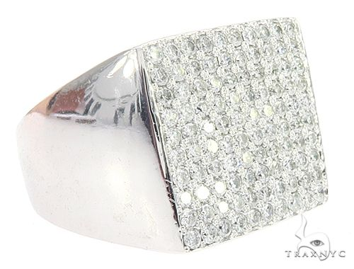 14K White Gold Diamond Square Ring 65082 Stone