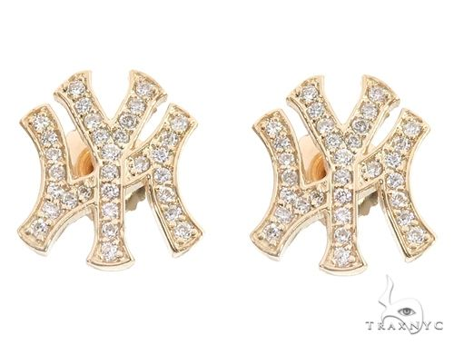 14K Yellow Gold Yankee Diamond Stud Earrings 64845 Stone