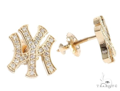 14K Yellow Gold Yankee Diamond Stud Earrings 64845 Stone