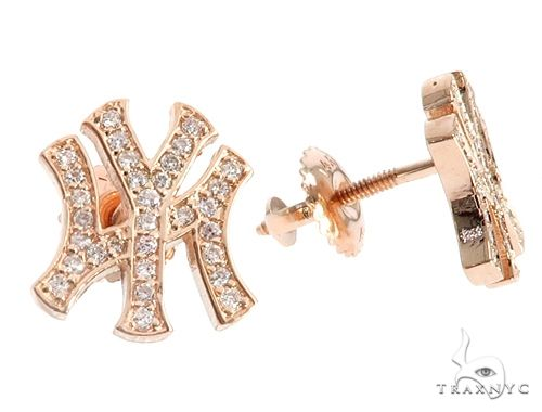 14K Rose Gold Yankee Diamond Stud Earrings 64846 Stone