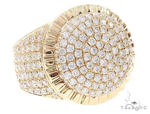 14k Yellow Gold Diamond Dome Men's Ring 65083 Stone