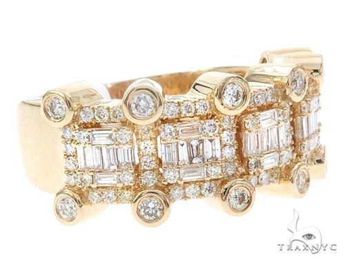14k Yellow Gold Men's Diamond Band 65084 Stone
