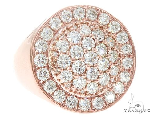 14k Rose Gold Diamond Dome Men's Ring 65085 Stone