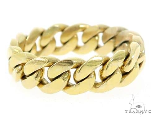14k Gold 8mm Miami Cuban Link Ring 65088 Metal