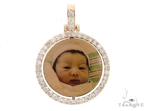 10k Rose Gold 1 Inch Rotating Photo Pendant 65095 Style