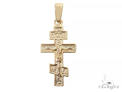 14k Yellow Gold Asymmetrical Cross Pendant 65096 Gold