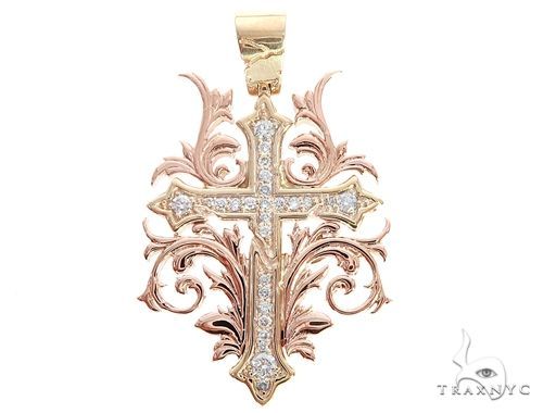 Black Ink Crew Small 14k Two Tone Diamond Filigree Cross Pendant 65102 Diamond