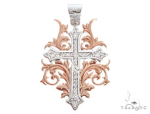 Black Ink Crew Small 14k Two Tone Diamond Filigree Cross Pendant 65103 Diamond