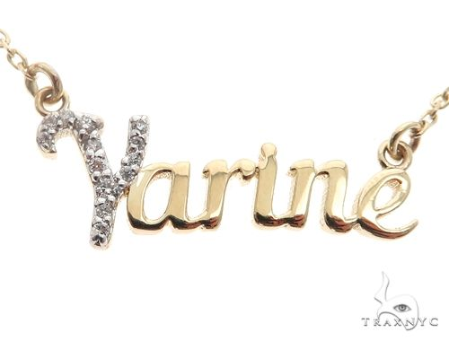 14k YG Custom 'Yarine' Name Pendant 65105 Diamond