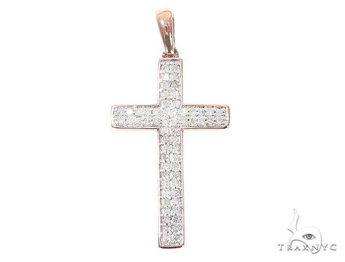10k Two Tone Diamond Cross Pendant 65107 Diamond Cross Pendants