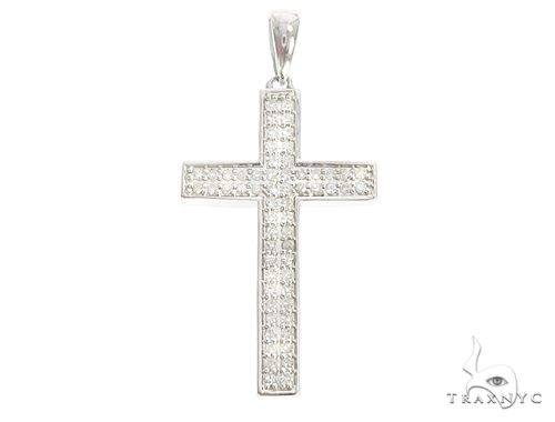 10k White Gold Diamond Cross Pendant 65108 Diamond Cross Pendants