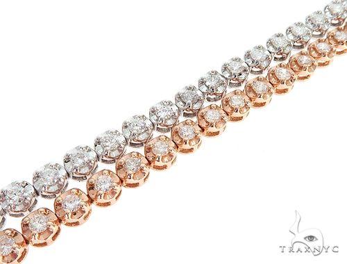 14k White and Pink Gold Double Diamond Bracelt 65109 Diamond