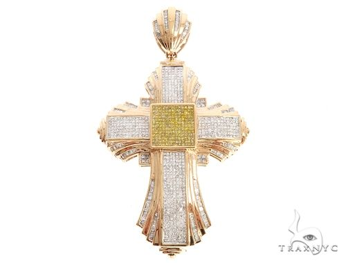 14k Rose Gold Yellow and White Diamond Cross Pendant 65114 Diamond