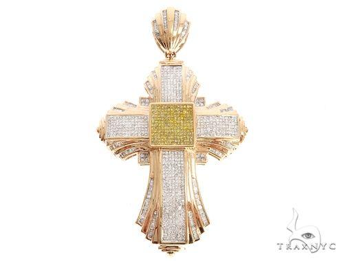 14k Rose Gold Yellow and White Diamond Cross Pendant 65114 Diamond