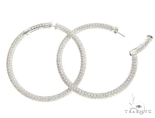 18k White Gold Cantamessa Diamond Hoop Earrings 65116 10k, 14k, 18k Gold Earrings