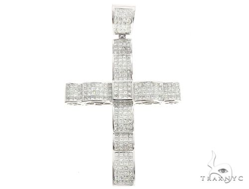 14k White Gold Invisible Set Diamond Cross Pendant 65117 Diamond