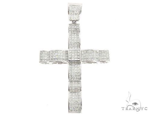 14k White Gold Invisible Set Diamond Cross Pendant 65117 Diamond
