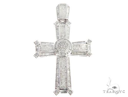 14k White Gold Diamond Cross Pendant 65118 Diamond