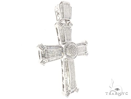 14k White Gold Diamond Cross Pendant 65118 Diamond