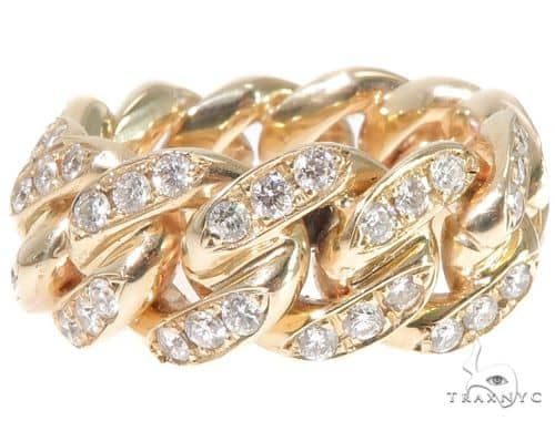 14k Yellow Gold Diamond Miami Cuban Link Ring 65119 Stone
