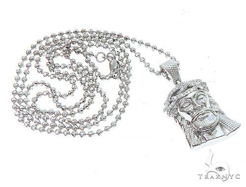 14k White Gold Diamond Jesus Pendant and Moon Chain Set 65122 Style