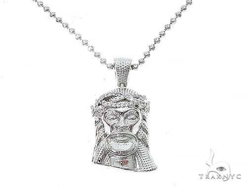 14k White Gold Diamond Jesus Pendant and Moon Chain Set 65122 Style