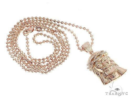 14k Rose Gold Diamond Jesus Pendant and Moon Chain Set 65123 Style