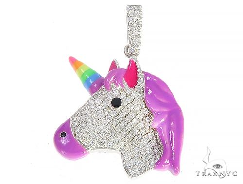Rainbow Horn Diamond Unicorn Pendant 65126 Stone