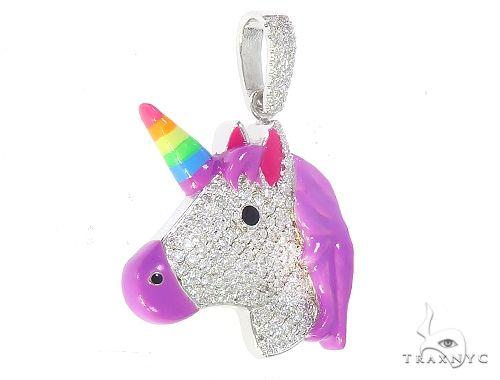 Rainbow Horn Diamond Unicorn Pendant 65126 Stone