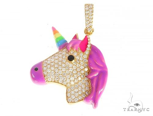 Rainbow Horn Diamond Unicorn Pendant 65127 Stone