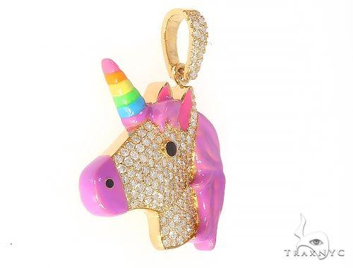 Rainbow Horn Diamond Unicorn Pendant 65127 Stone